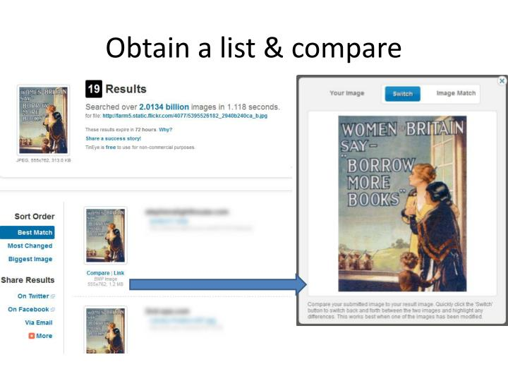 Obtain a list & compare