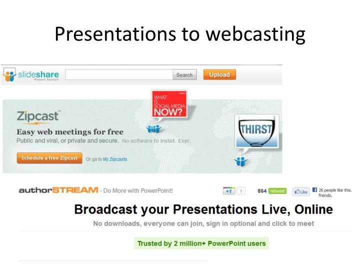 Presentations to webcasting