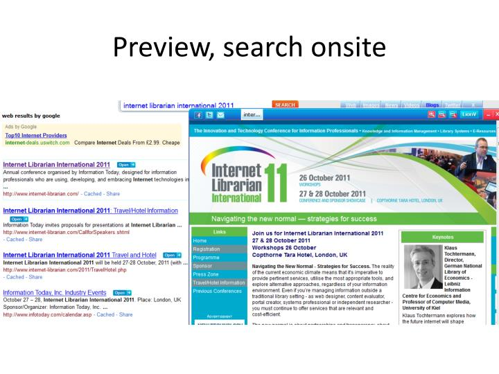 Preview, search onsite