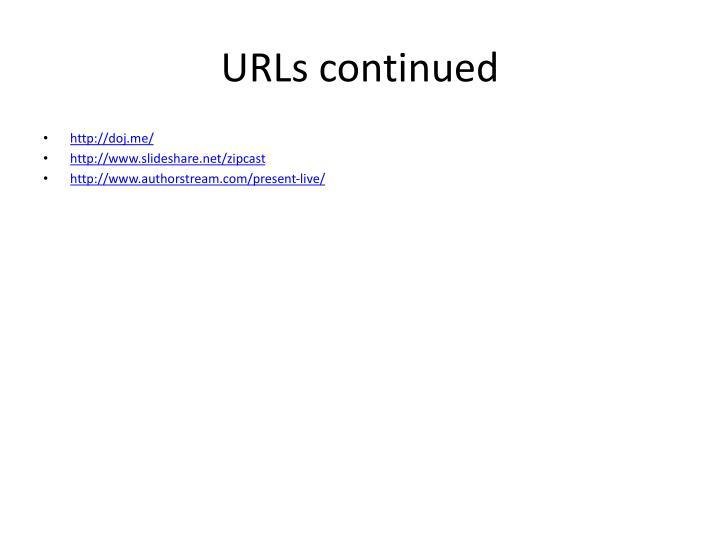 URLs continued