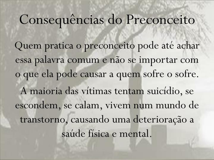 Consequências do Preconceito