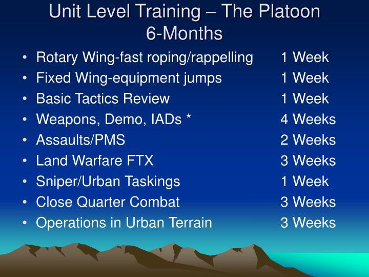 Unit Level Training – The Platoon