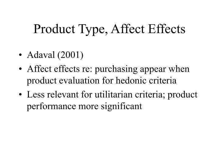 Product Type, Affect Effects