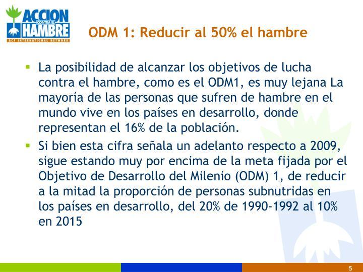 ODM 1: Reducir al 50% el hambre