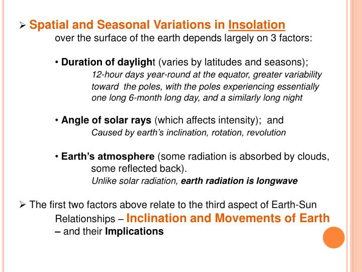 Spatial and Seasonal Variations in
