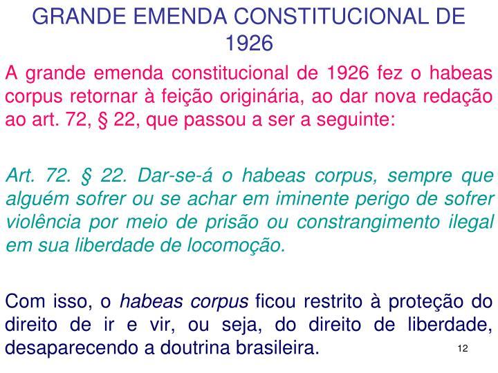 GRANDE EMENDA CONSTITUCIONAL DE 1926