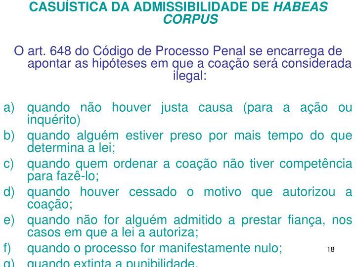 CASUÍSTICA DA ADMISSIBILIDADE DE