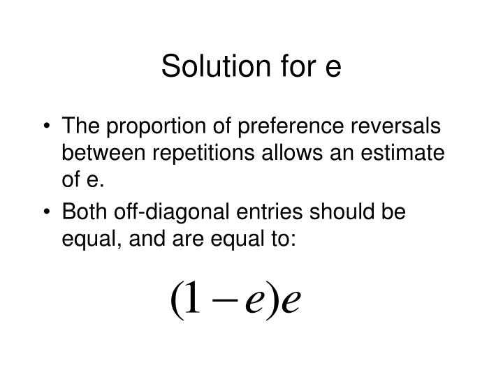 Solution for e