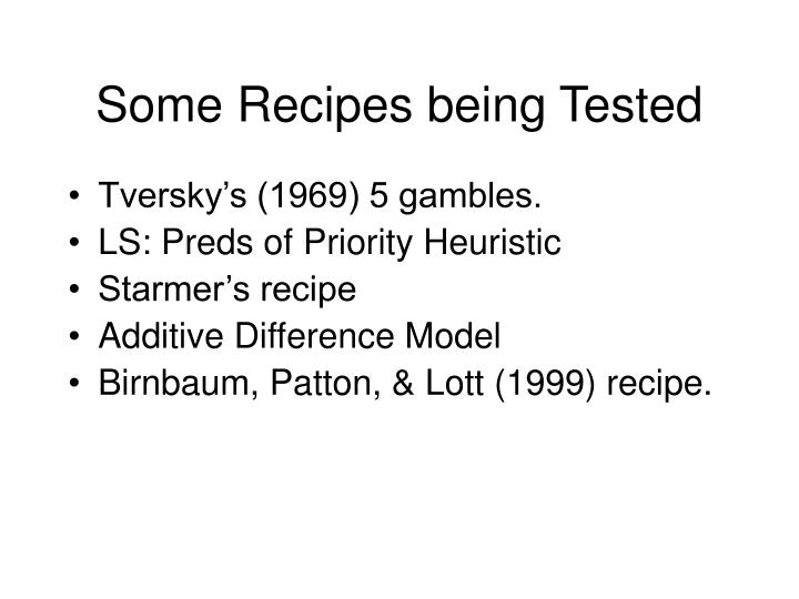 Some Recipes being Tested