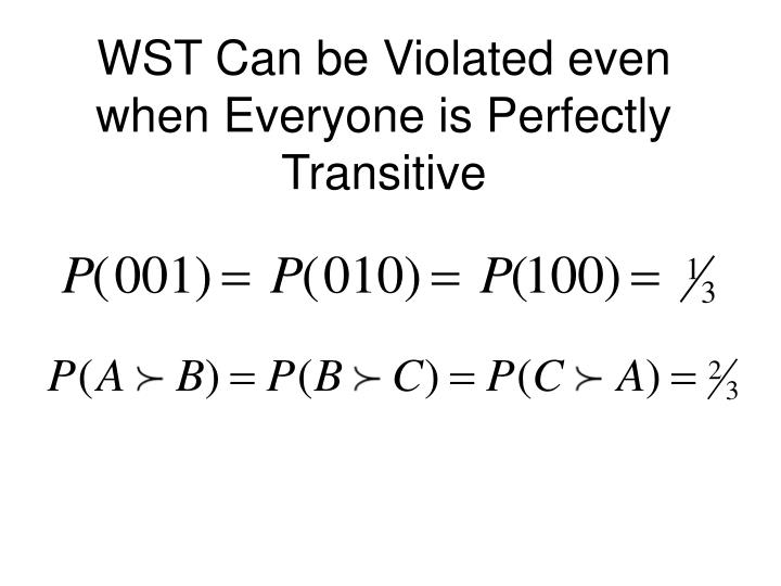 WST Can be Violated even when Everyone is Perfectly Transitive