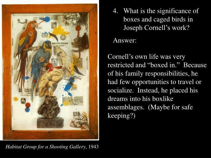 What is the significance of boxes and caged birds in Joseph Cornell's work?