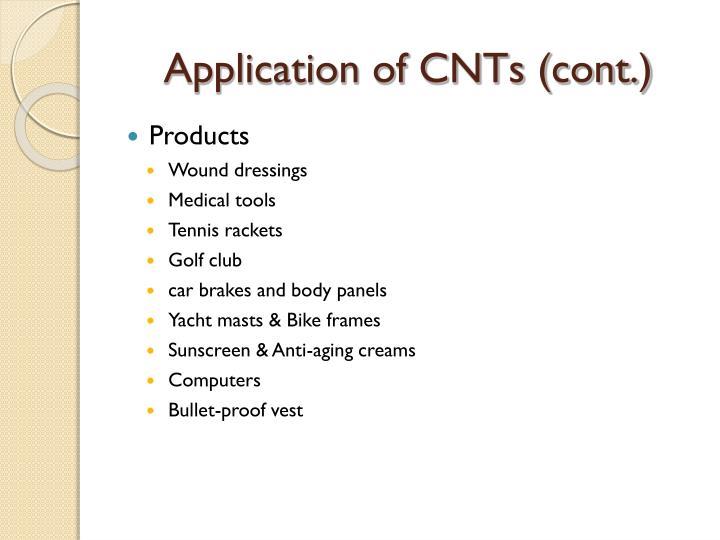 Application of CNTs (cont.)