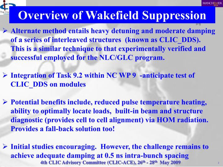Overview of Wakefield Suppression