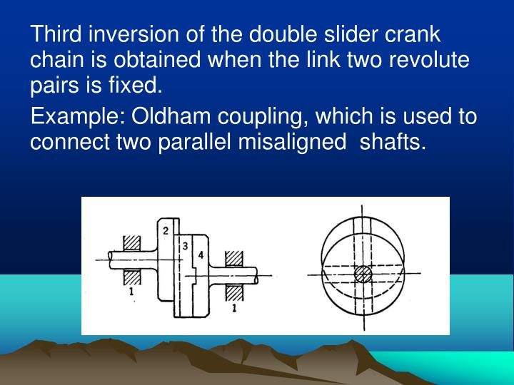 Third inversion of the double slider crank chain is obtained when the link two revolute pairs is fixed.