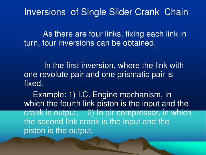 Inversions  of Single Slider Crank  Chain