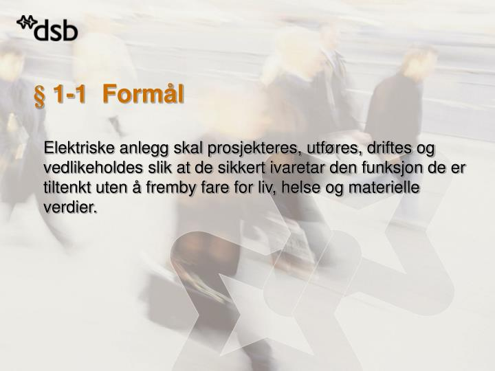 § 1-1  Formål