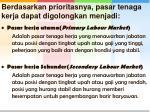 berdasarkan prioritasnya pasar tenaga kerja dapat digolongkan menjadi