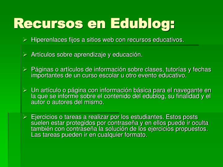 Recursos en Edublog: