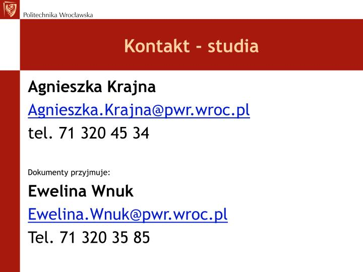 Kontakt - studia