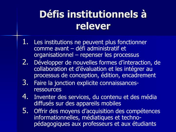Défis institutionnels à relever