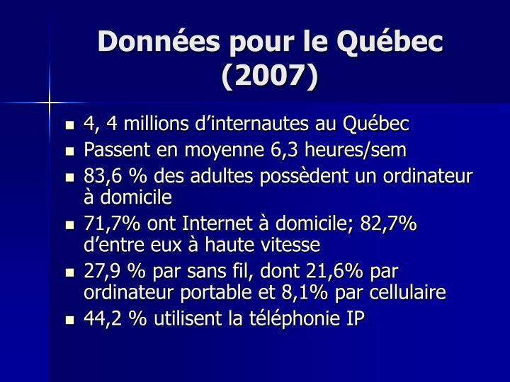 Données pour le Québec (2007)