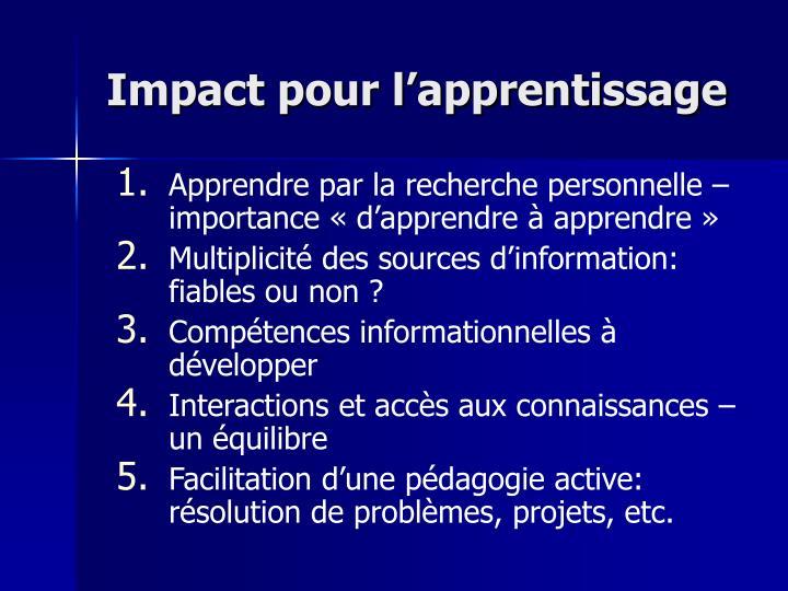 Impact pour l'apprentissage