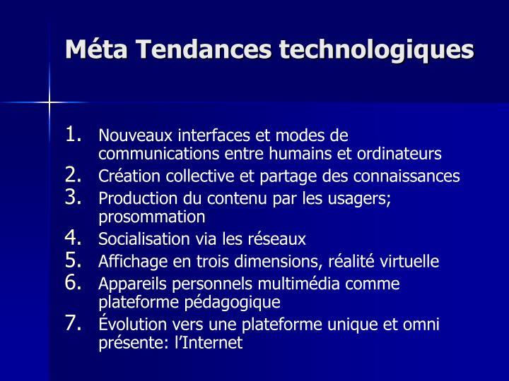 Méta Tendances technologiques