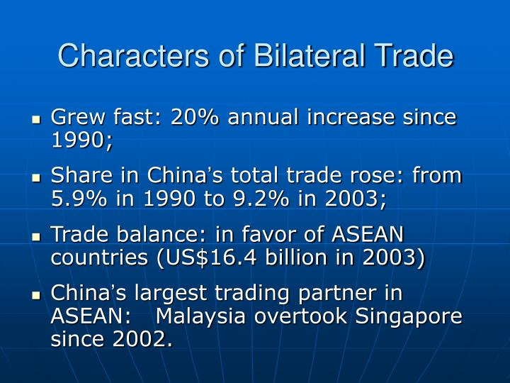 Characters of Bilateral Trade