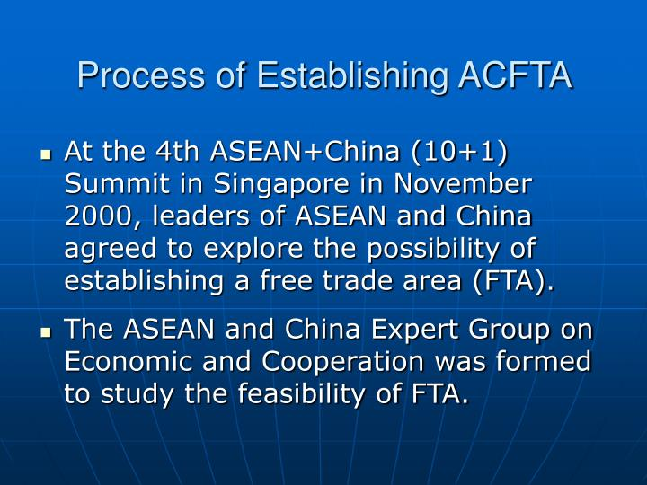 Process of Establishing ACFTA