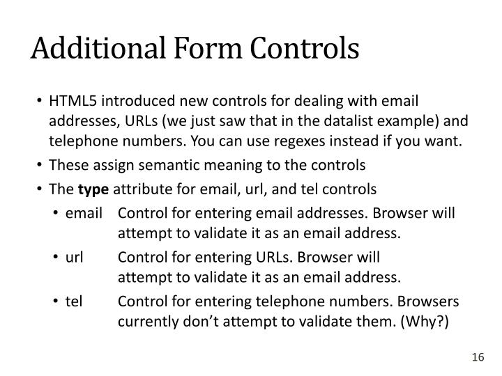 Additional Form Controls