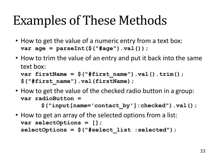 Examples of These Methods
