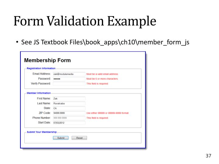 Form Validation Example