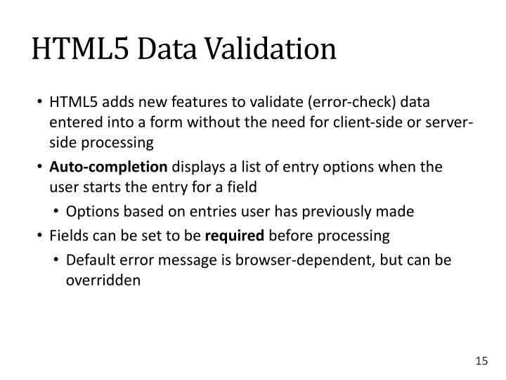 HTML5 Data Validation