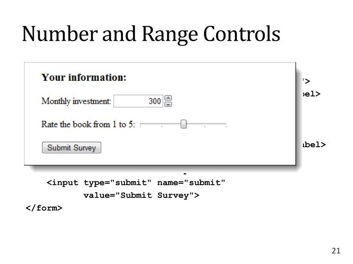 Number and Range Controls