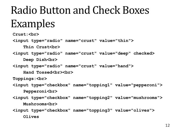 Radio Button and Check Boxes Examples