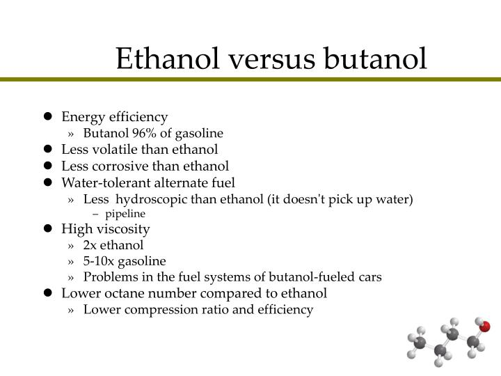 butanol and ethanol at room temperature essay Methanol, ethanol, propanol and butanol are all colourless flammable liquids that dissolve in water to give neutral solutions (ph 7) physical appearance at room temperature and volatility: alcohols are colourless liquids.