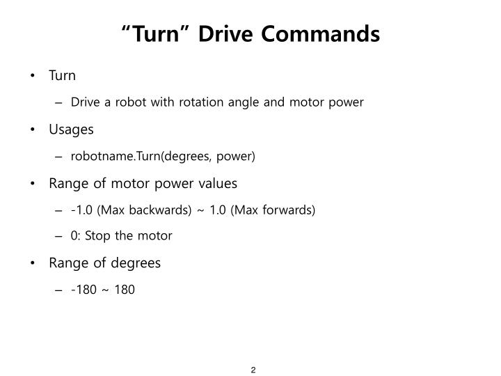 """Turn"" Drive Commands"