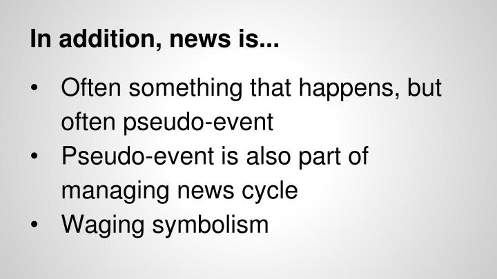 In addition, news is...