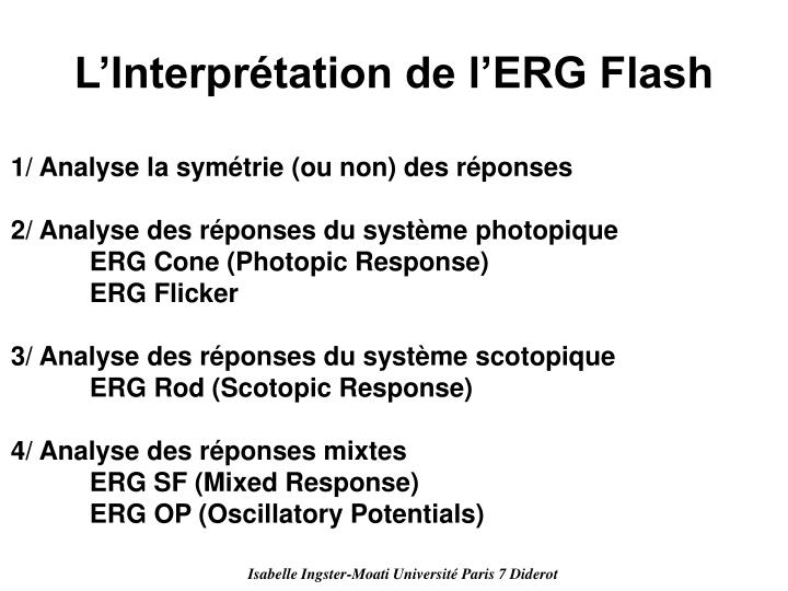 L'Interprétation de l'ERG Flash