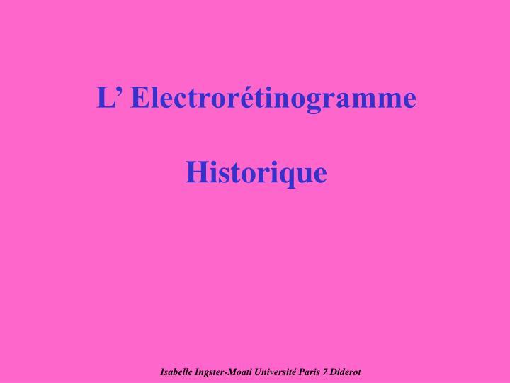 L' Electrorétinogramme