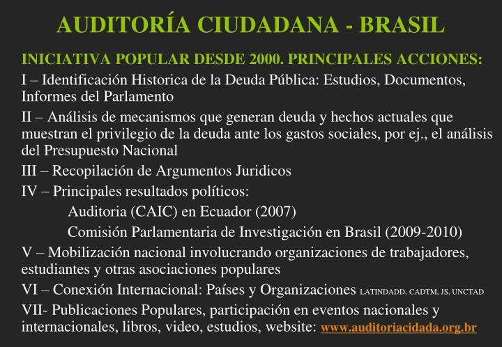 AUDITORÍA CIUDADANA - BRASIL