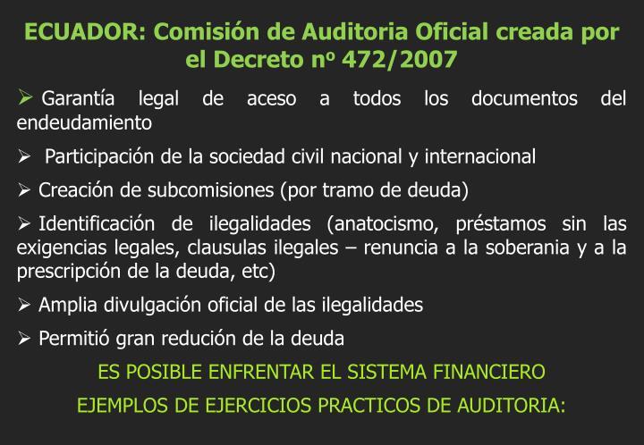 ECUADOR: Comisión de Auditoria Oficial creada por el Decreto n