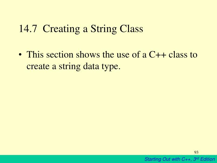 14.7  Creating a String Class