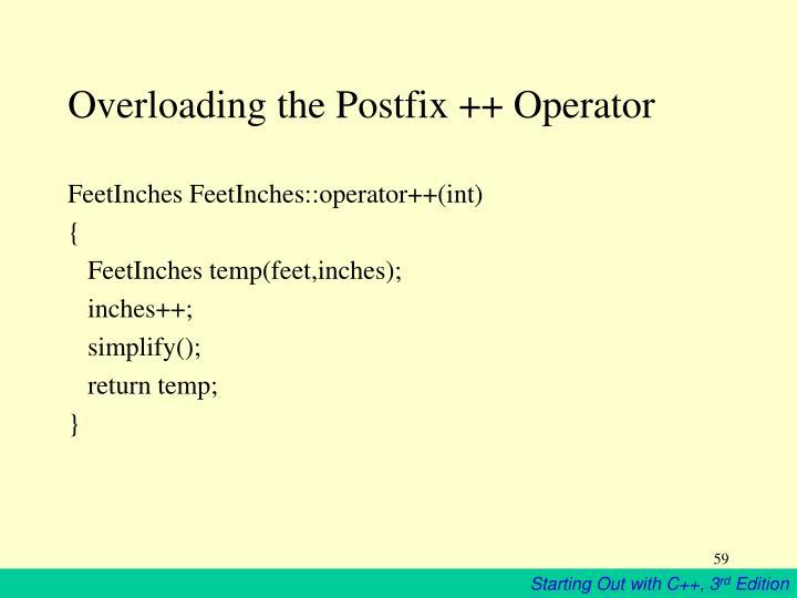 Overloading the Postfix ++ Operator