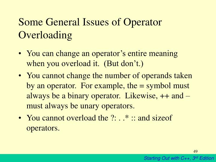 Some General Issues of Operator Overloading
