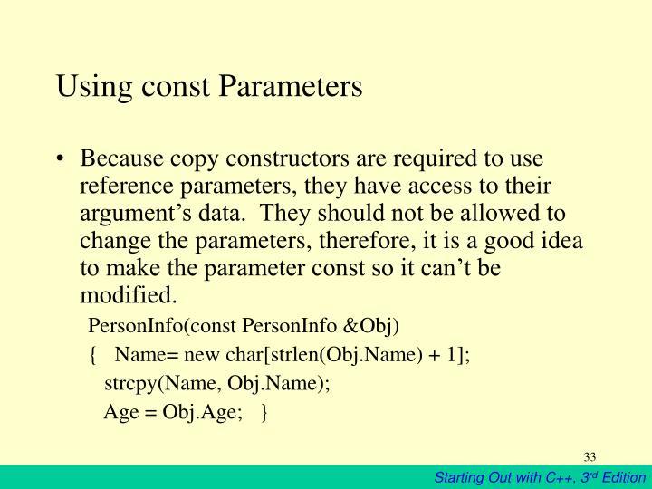Using const Parameters