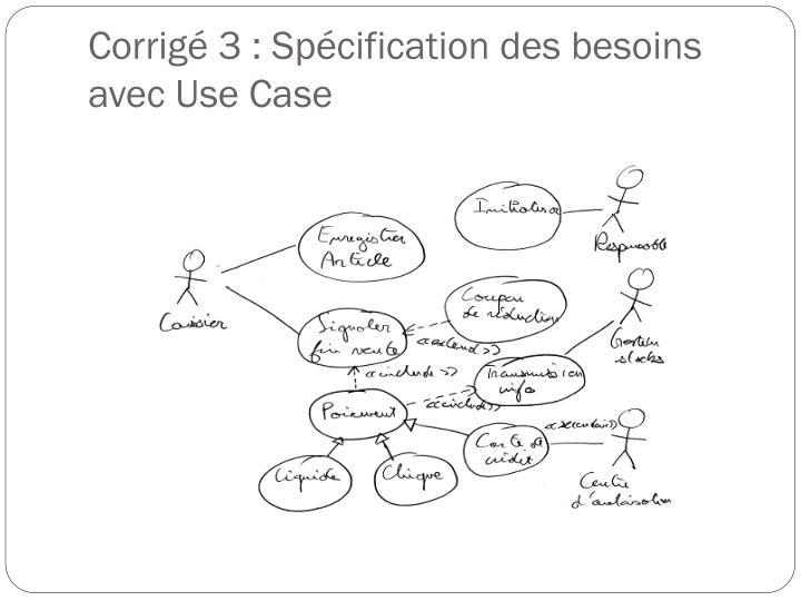 Corrigé 3 : Spécification des besoins avec Use Case