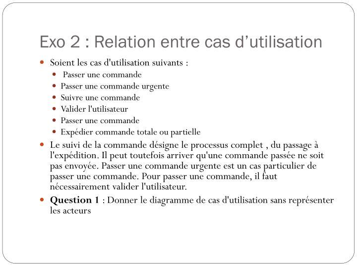 Exo 2 : Relation entre cas d'utilisation