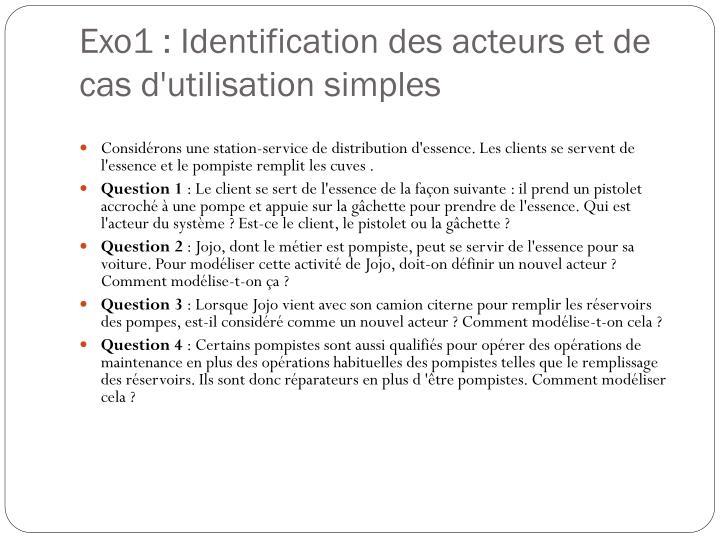 Exo1 : Identification des acteurs et de cas d'utilisation simples