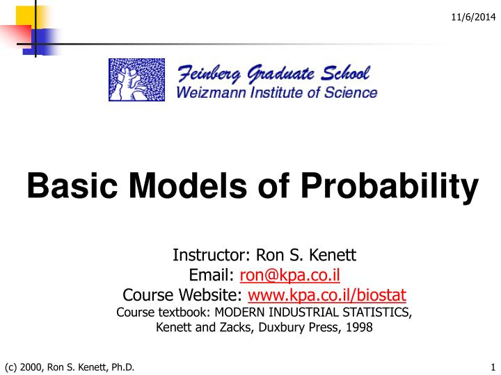 Basic Models of Probability